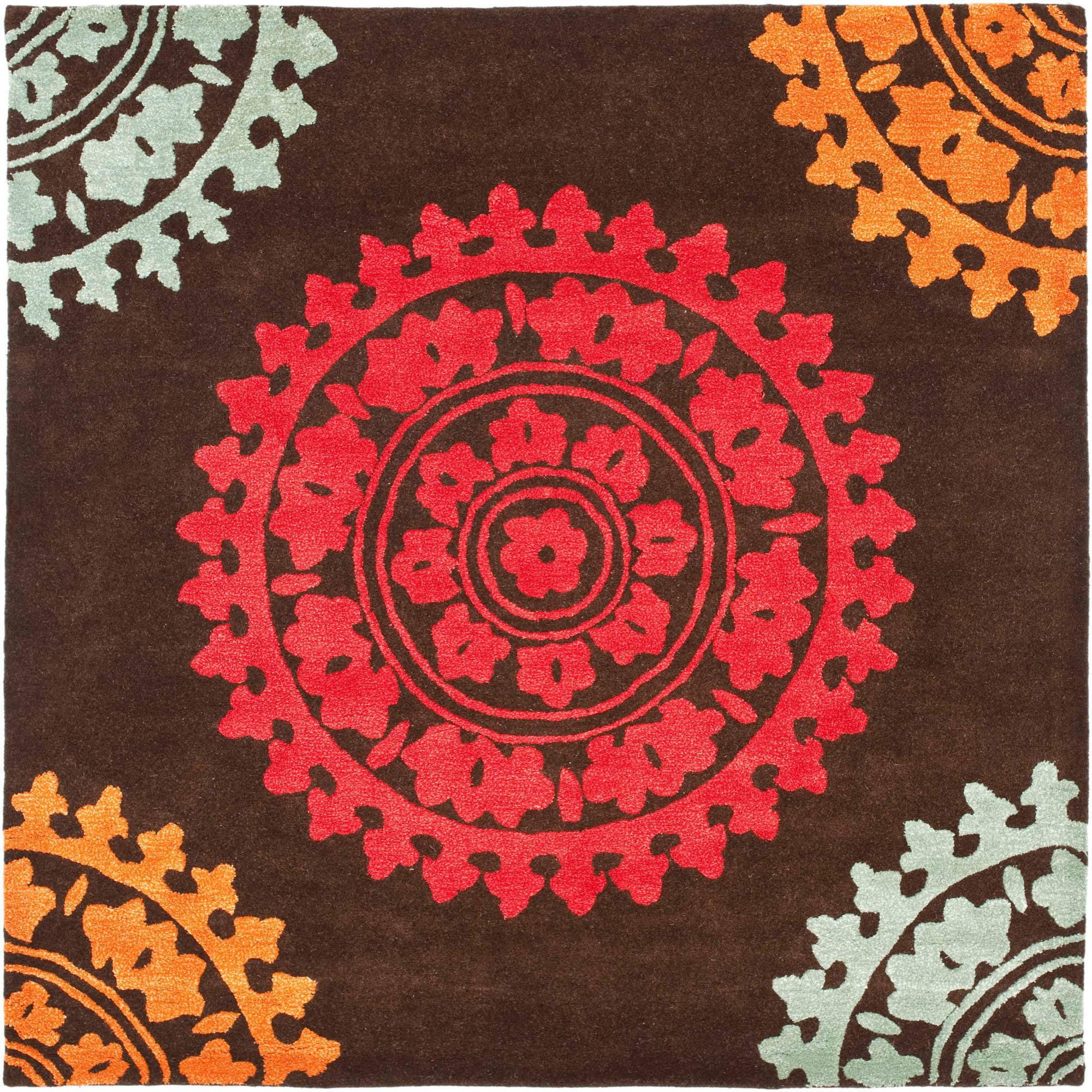 Safavieh Soho Aubrey Wool Square Rug, Brown/Multi-Color, 6' x 6'