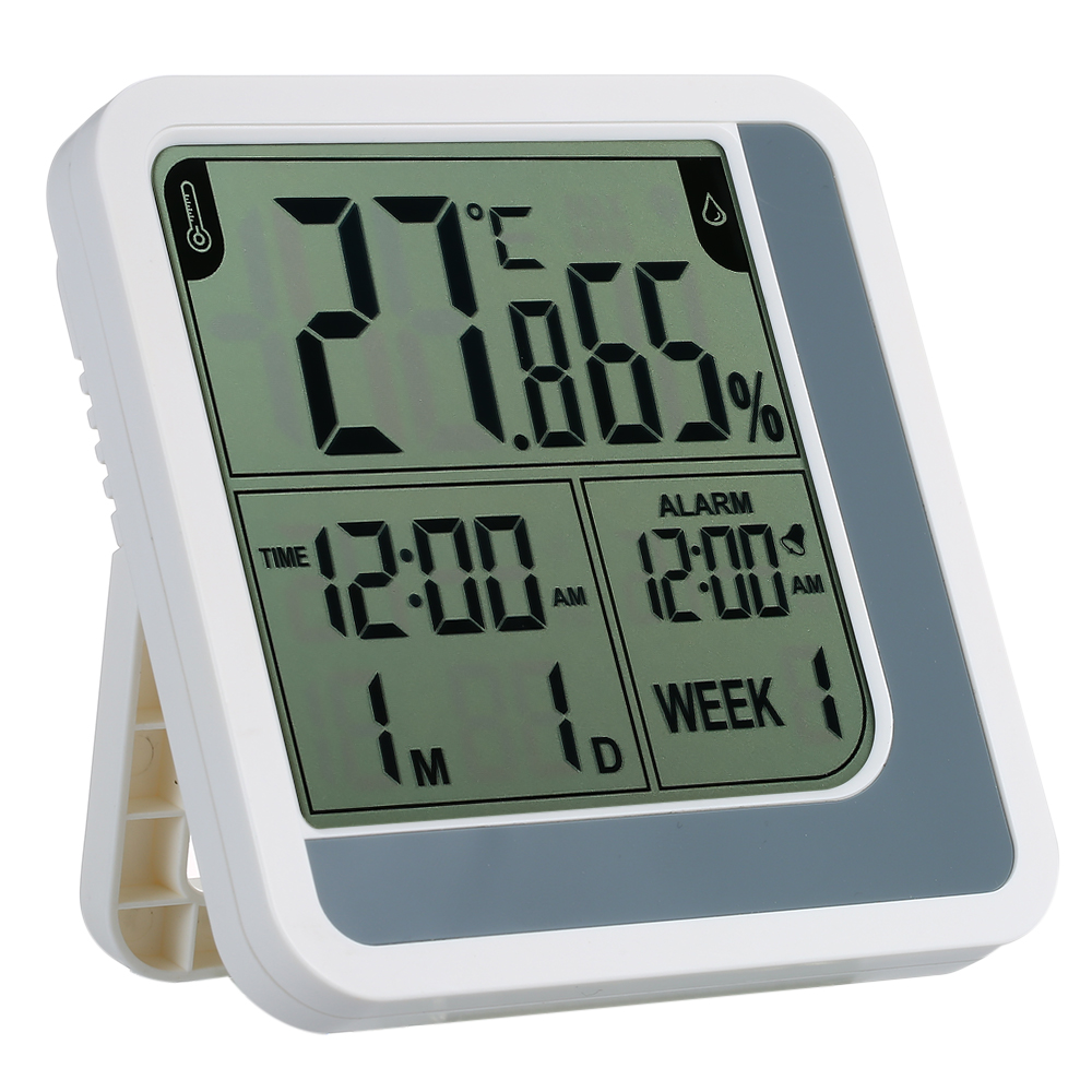 New Digital LCD Temperature Humidity Hygrometer Room Indoor Thermometer Clock