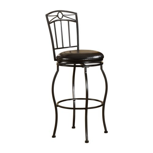 Linon 30 Inch Somerville Circle Top Metal Swivel Bar Stool