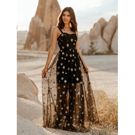 Ever-Pretty Womens Sexy Long A Line Sparkling Embroidery Sheer Summer Holiday Prom Party Cocktail Wedding Guest Dresses for Women 07306 Black US 4
