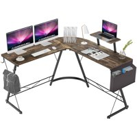 Famistar L-Shaped Computer Office Desk with Monitor Stand