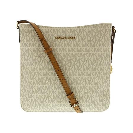 Michael Kors Jet Set Travel Large Messenger Bag - Vanilla / Acorn (Michael Kors Cosmetic Bag)