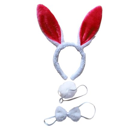 3Pcs Kids Adult Rabbit Bunny Ears Headband Bow Ties Tail Set Party Cosplay Costume (White & Red) - Masquerade Suits