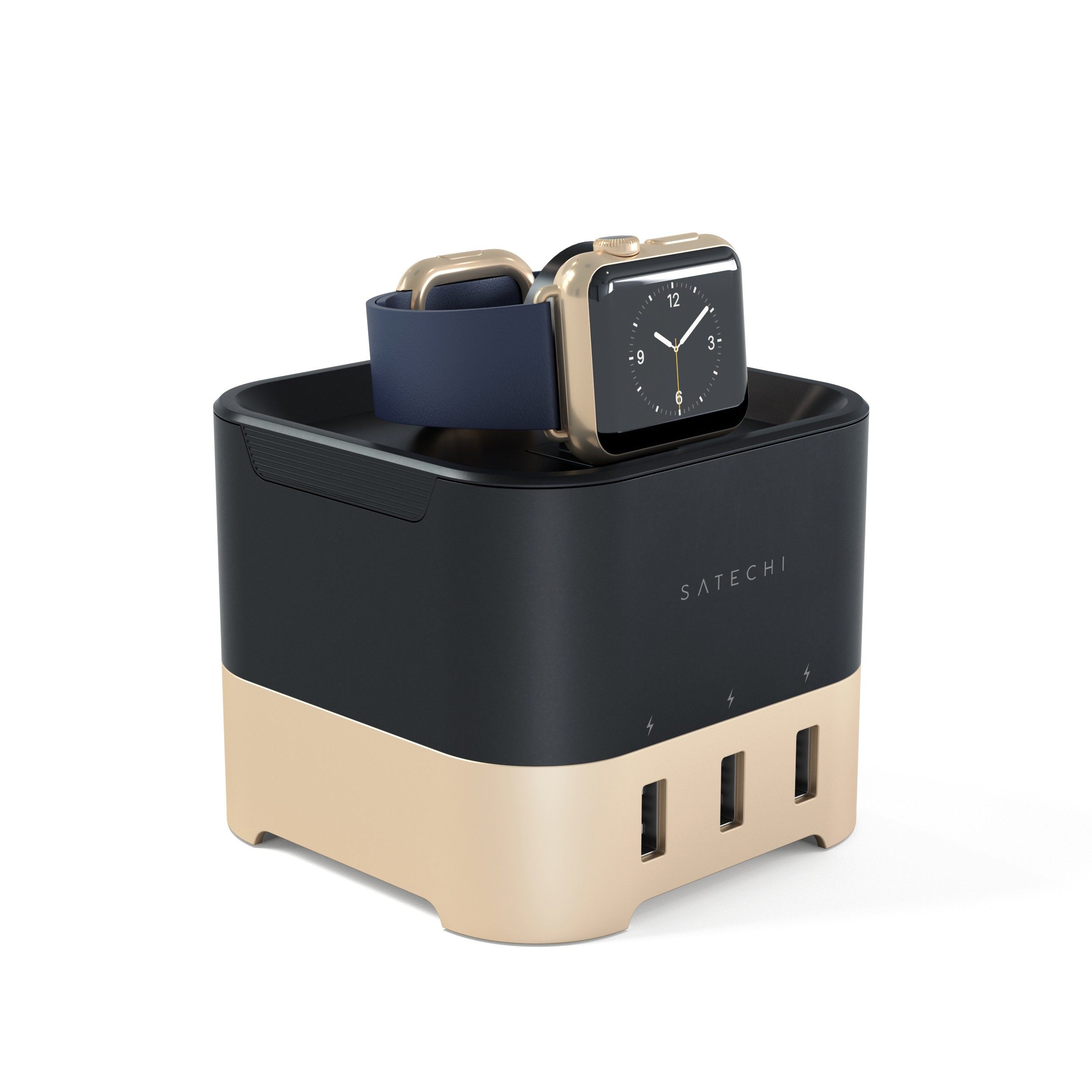 Satechi Smart Charging Stand for Apple Watch 1 & 2, Fitbit Blaze, and Smartphone (Gold) by