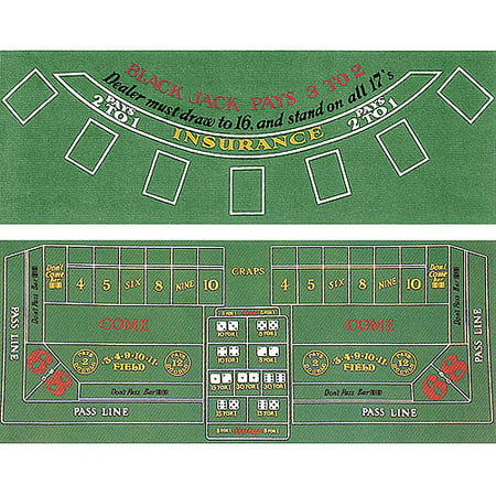 Trademark Poker 2-Sided Blackjack And Craps Layout