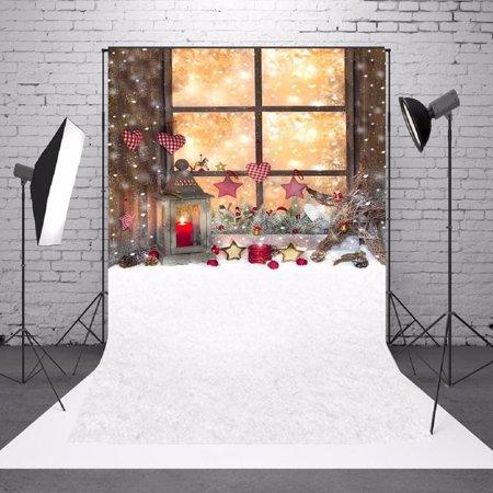 5x7FT Christmas Snow Yard Lantern Candle Photo Backdrop Background Studio Props - image 5 de 5