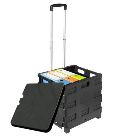 Trolley Universal Rolling Cart with Telescoping Handle and Lid Cover for Office (Rolling Cart With Cover)