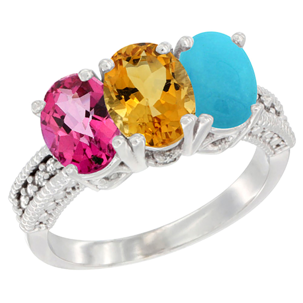 10K White Gold Natural Pink Topaz, Citrine & Turquoise Ring 3-Stone Oval 7x5 mm Diamond Accent, sizes 5 10 by WorldJewels