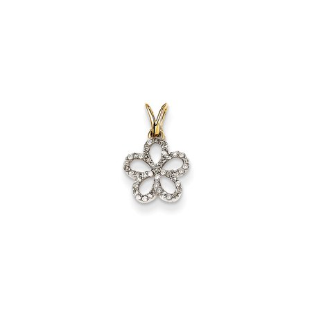 ICE CARATS 14kt Yellow Gold Diamond Flower Pendant Charm Necklace Fine Jewelry Ideal Gifts For Women Gift Set From Heart