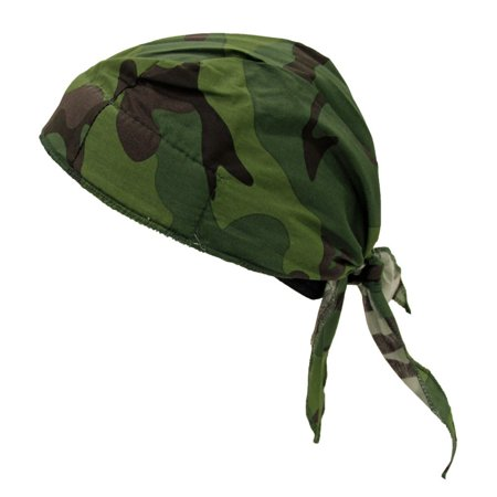 OccuNomix One Size Fits All Jungle Camo Tuff Nougies Deluxe Tie Hat (Doo Rag) With Elastic Rear Band Elastic Rear Band