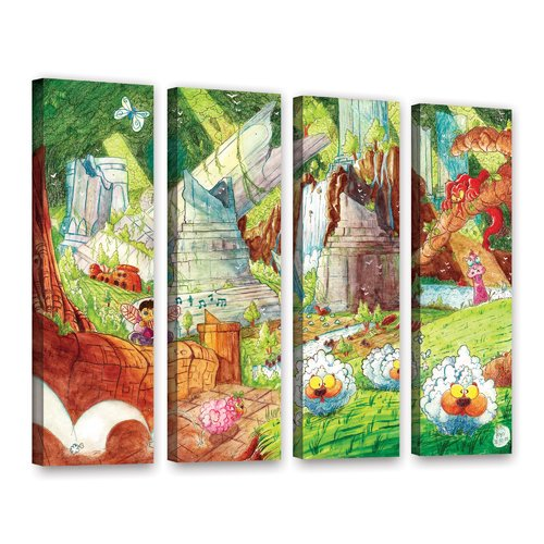 Artwall Sheep Forest By Luis Peres 4 Piece Painting Print On Wrapped