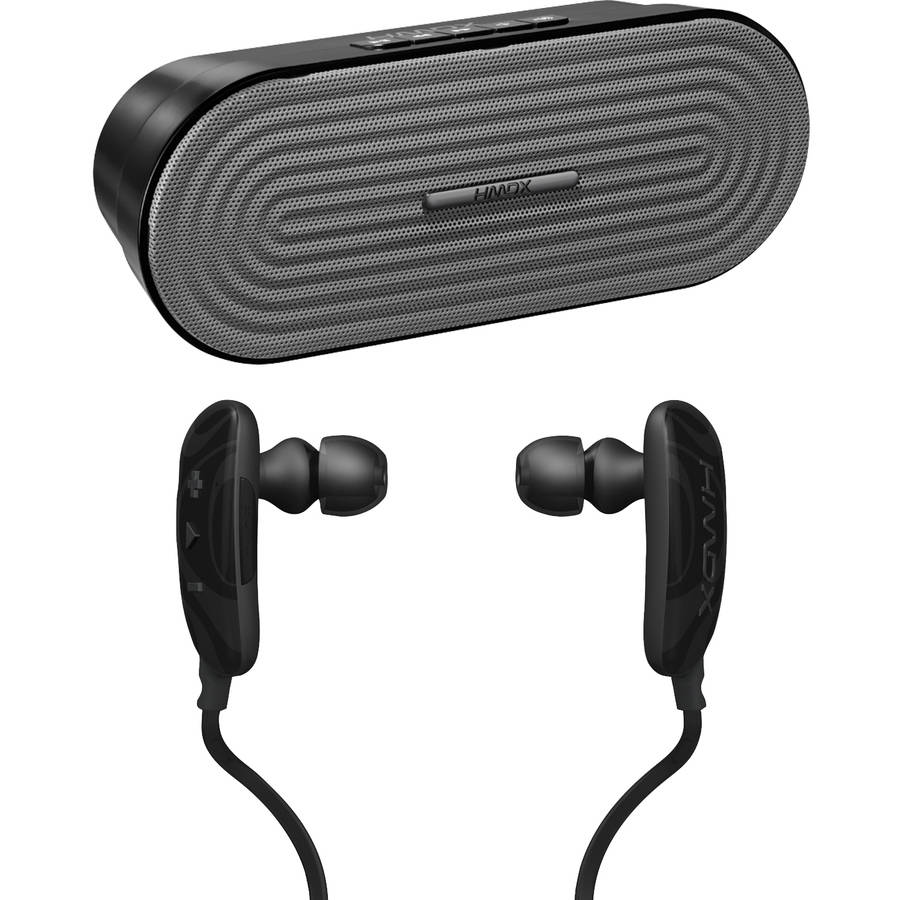HMDX HX - P205GY Rave Portable Bluetooth Speaker and HMDX HX - EP250BK Craze Bluetooth Earbuds