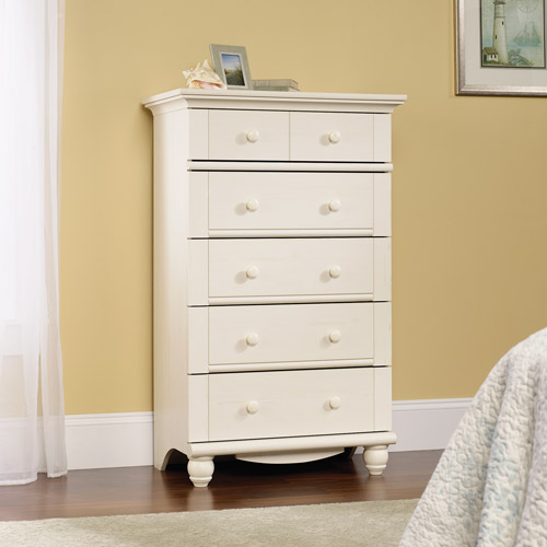 Sauder Harbor View Collection 5-Drawer Dresser, Antique White