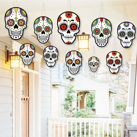 Day Of The Dead Hanging Porch Decor - Outdoor Halloween Hanging Porch & Tree Yard Decorations - 10 Pieces