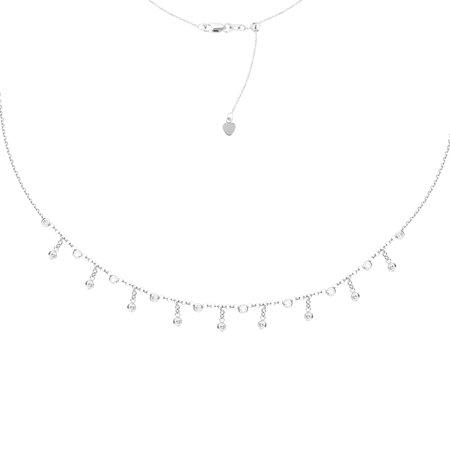 "Sterling Silver Bezel Set Cubic Zirconia Beads in Rainfall Pattern Choker Necklace. Adjustable 10""-16"""