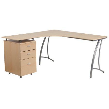 Flash Furniture Laminate L Shape Desk With 3 Drawer Pedestal