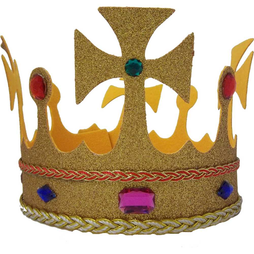 Gold Glitter Jeweled King's Crown