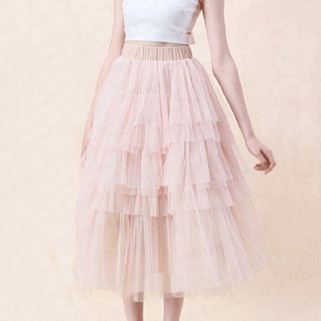 Sweet Girl Tiered Ruffle Skirts Women High Waist Midi Party Evening Elegant Ball Gown Skirt Spring Summer Clothes Pink S