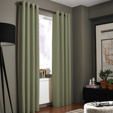 - (#86) Hotel Quality Grommet Top, Jacquard  1 PANEL SAGE GREEN SOLID THERMAL FOAM LINED BLACKOUT HEAVY THICK WINDOW CURTAIN DRAPES BRONZE GROMMETS 84