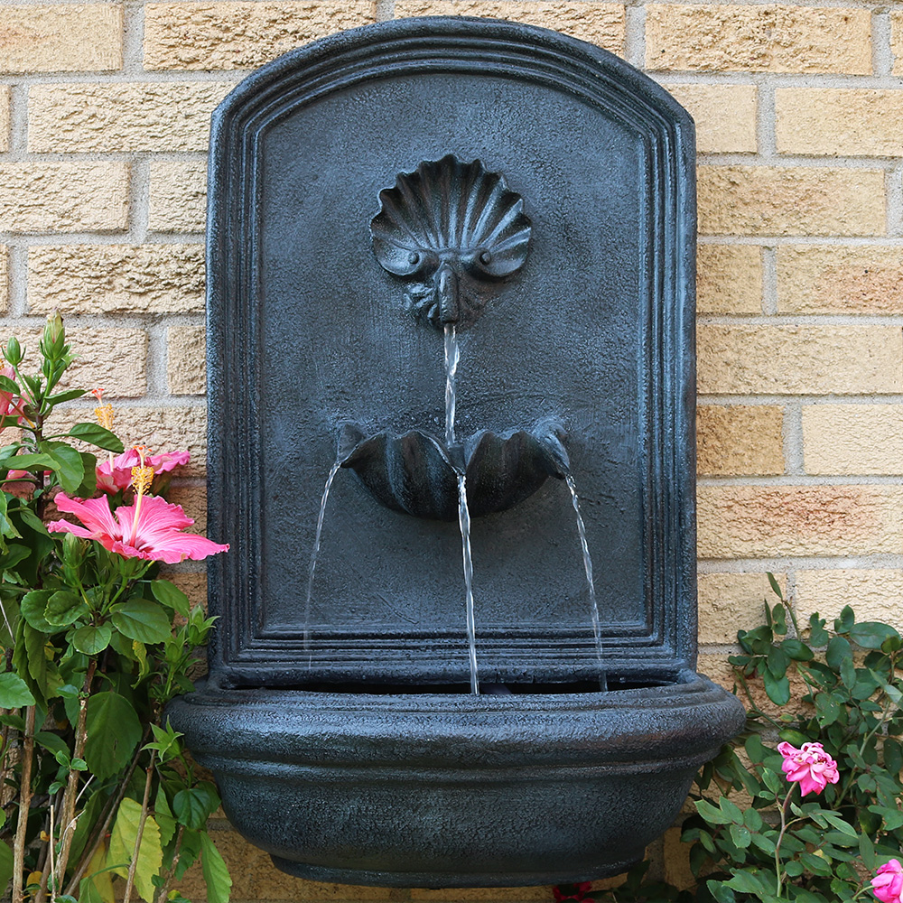 Sunnydaze Seaside Solar Outdoor Wall Mounted Water Fountain, Solar on Demand, 27-Inch, Lead Finish