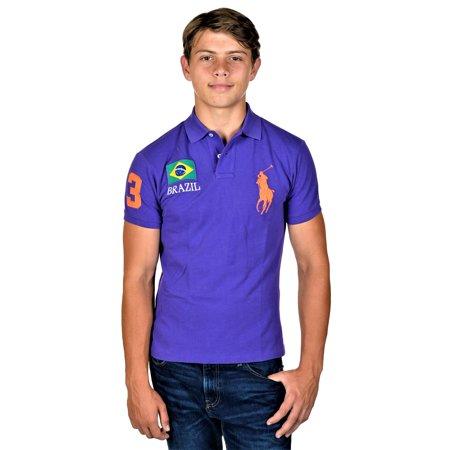 RALPH LAUREN Men's Custom Fit Big Pony BRAZIL FLAG Short Sleeve Polo Purple SM
