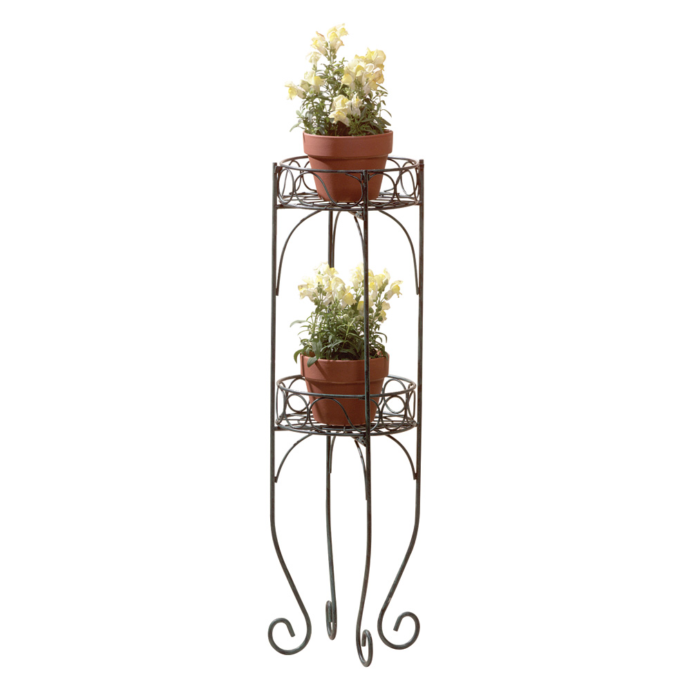 Tall Plant Stand, Two Tier Decorative Metal House Plant Stand Verdigris Style by Summerfield Terrace