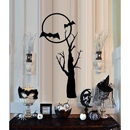 HALLOWEEN ~ BATS IN MOON 1 ~ HALLOWEEN: WALL OR WINDOW DECAL, HOME DECOR 7