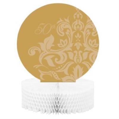 Golden 50th Anniversary Honeycomb Centerpiece, 2PK