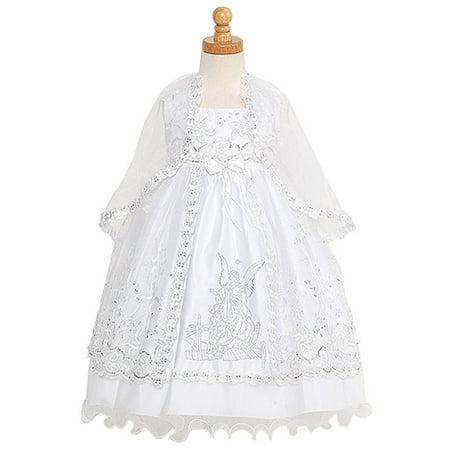 Rain Kids White Silver Embroidered Angel Baptism Dress Girls -