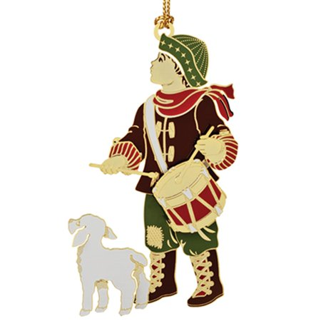 Christmas Drummer.3 25 Multicolored 24k Gold Finished Drummer Boy And Dog Christmas Ornament