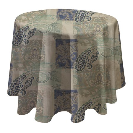 Woven Paisley Scroll - Paisley Scroll Easy Care Spillproof Vinyl Tablecloth with Polyester Flannel Backing