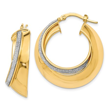 9 x 27mm (1 1/16 Inch) 14k Yellow Gold Glitter Infused Creole Hoops