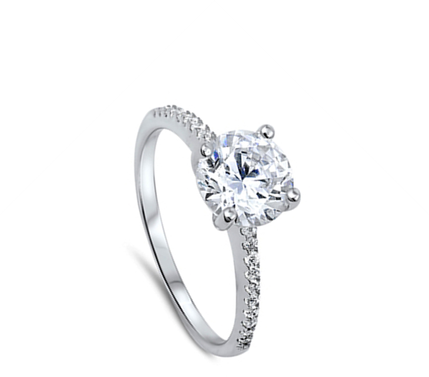 CHOOSE YOUR COLOR Sterling Silver Solitaire Wedding Ring