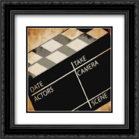 LIGHTS CAMERA ACTION_CLAPBOARD 2x Matted 20x20 Black Ornate Framed Art Print by Greene, Taylor (Action Clapboard)