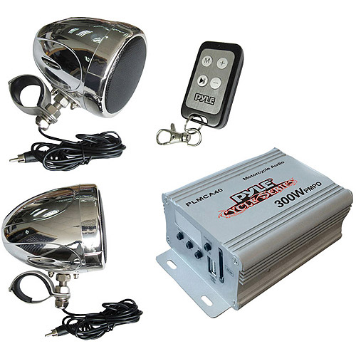 Pyle PLMCA40- 100 Watt Motorcycle/UTV Speaker and Amplifier system with USB/SD/AUX Inputs and FM Tuner