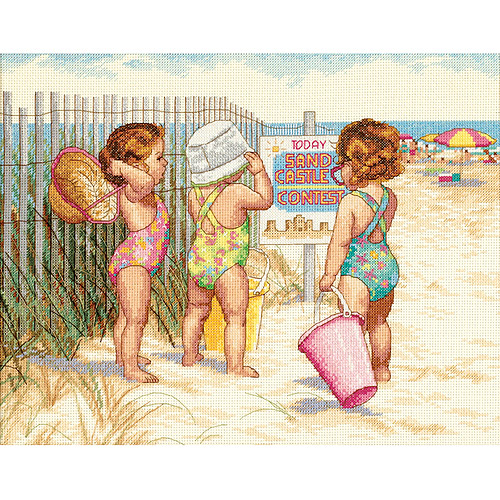 "Dimensions ""Beach Babies"" Counted Cross Stitch Kit, 14"" x 11"""
