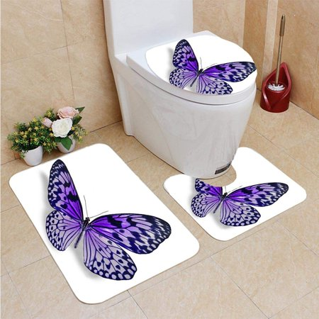 EREHome Beautiful Open Winged Butterfly 3 Piece Bathroom Rugs Set Bath Rug Contour Mat and Toilet Lid Cover - image 1 of 2