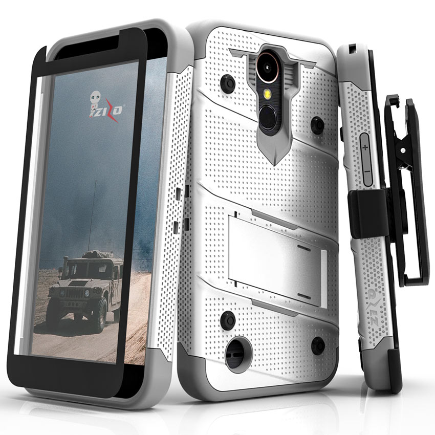 Zizo BOLT Series compatilbe with LG K20 Plus Case Military Grade Drop Tested with Tempered Glass Screen Protector Holster LG Harmony