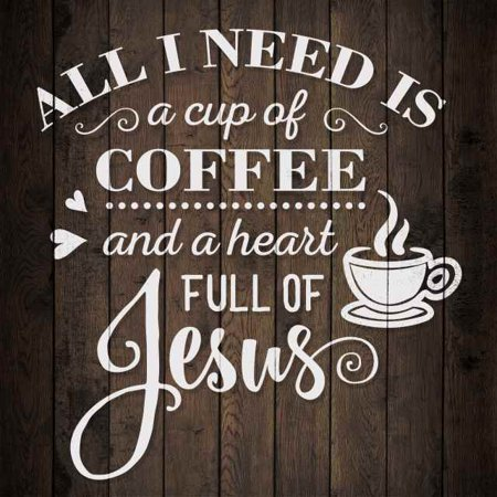Coffee and Jesus Rustic Looking Inspiration Faith Wood Sign Wall Décor 12 x 12 Wood Sign B3-12120061069 Retreat Wood Sign