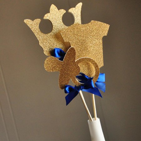 Royal Prince Baby Shower Decorations.  Ships in 1-3 Business Days.   Little Prince Party Centerpiece.  3CT. - Mustache Centerpiece Ideas