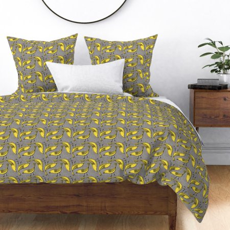 Retro Mod Bird Yellow And Grey Corrie Canvas Sateen Duvet Cover by Roostery ()