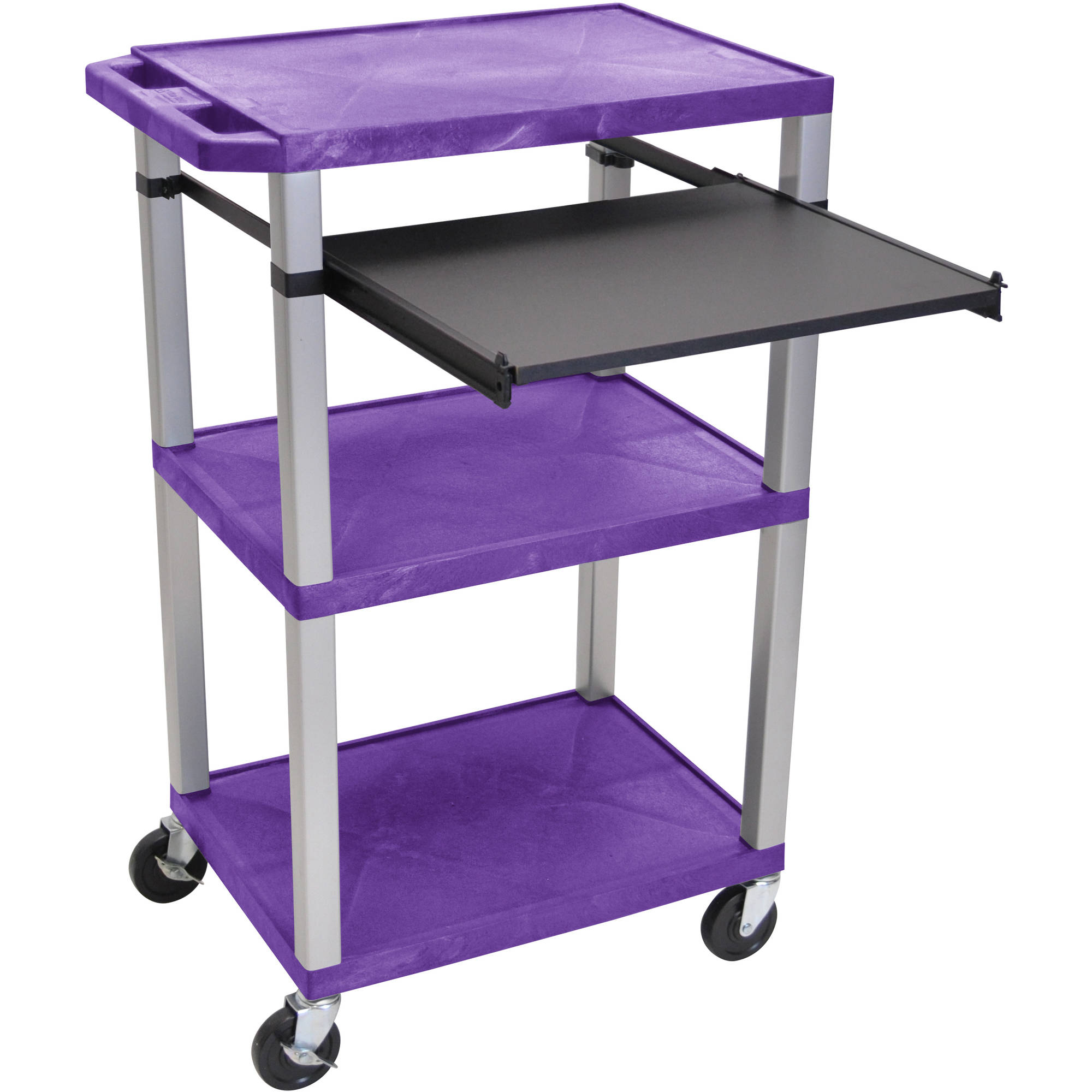 H. Wilson Tuffy 3-Shelf A/V Cart with Electric, Black Front Pullout Shelf, Purple Shelves and Nickel Legs