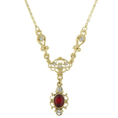 Downton Abbey Ruby-Red Jewel Gold-Toned Drop Necklace 17511 NEW