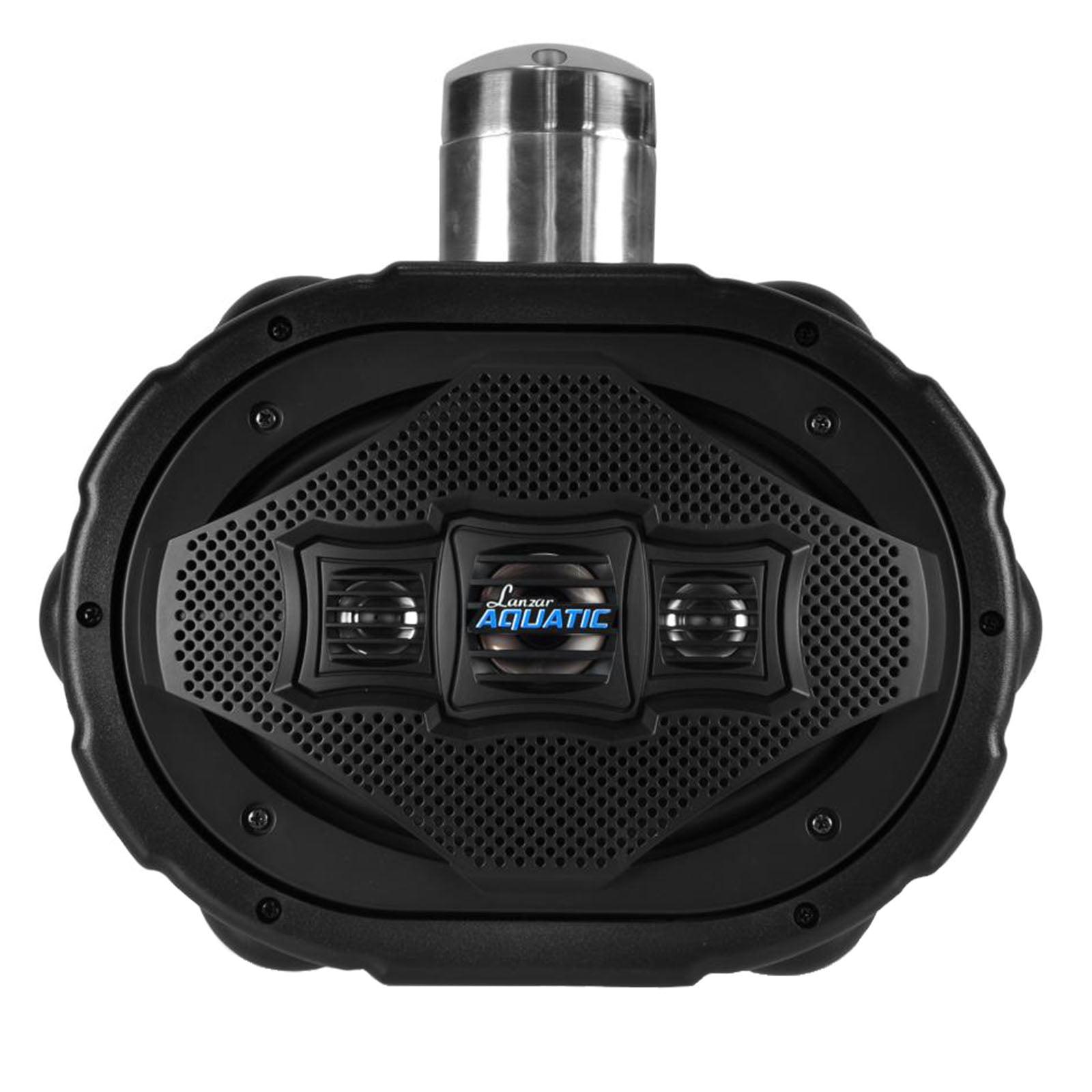 """6"""" x 9"""" BT Marine Wakeboard Speaker, Water Resistant 4-Way Tower Speaker, 1200 Watt (Black)"""
