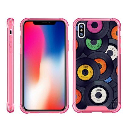 TurtleArmor ® | For Apple iPhone X | Apple iPhone 10 [Clear Bumper Case] Fitted Ultra Slim TPU Case with Pink Edges - Vintage Record Discs
