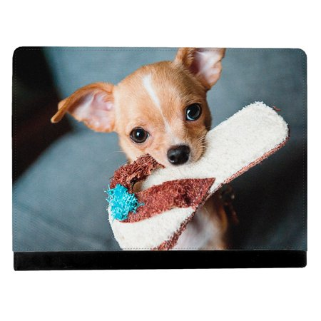 Chihuahua Dog Puppy On Sofa Chair Holding A Chew Toy Apple Ipad Pro 12 9 Inch Leather Flip Tablet Case