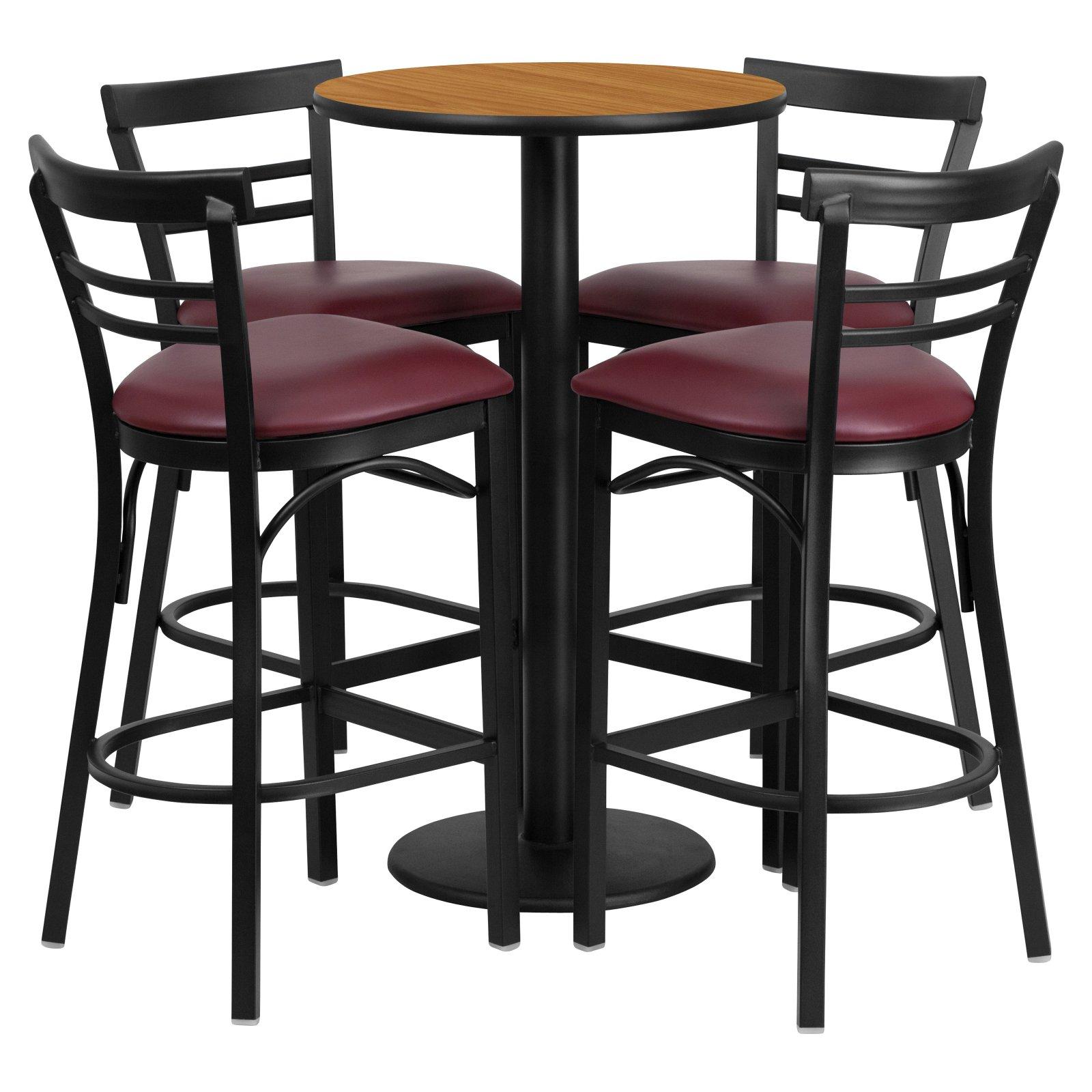 Flash Furniture 24'' Round Natural Laminate Table Set with 4 Ladder Back Metal Barstools, Burgundy Vinyl Seat