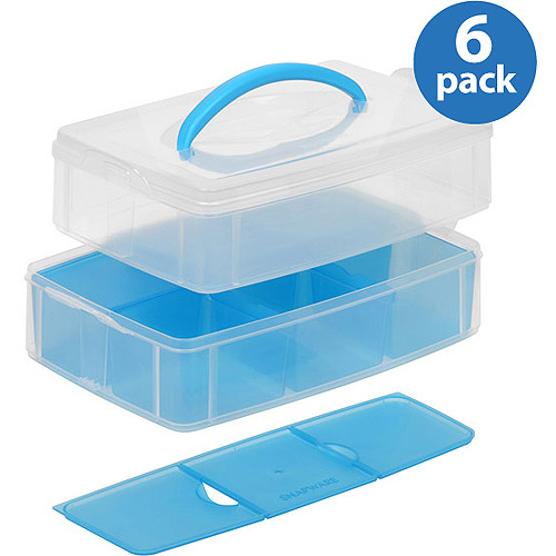 """Snapware Snap'N'Stack Storage Unit with Divider, 6"""" x 9"""", 2-Layer, Set of 6"""