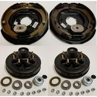 Electric Trailer Brake Backing Plates 12 inch LH RH w/2 Hub Drum Kits (8 on 6.5)
