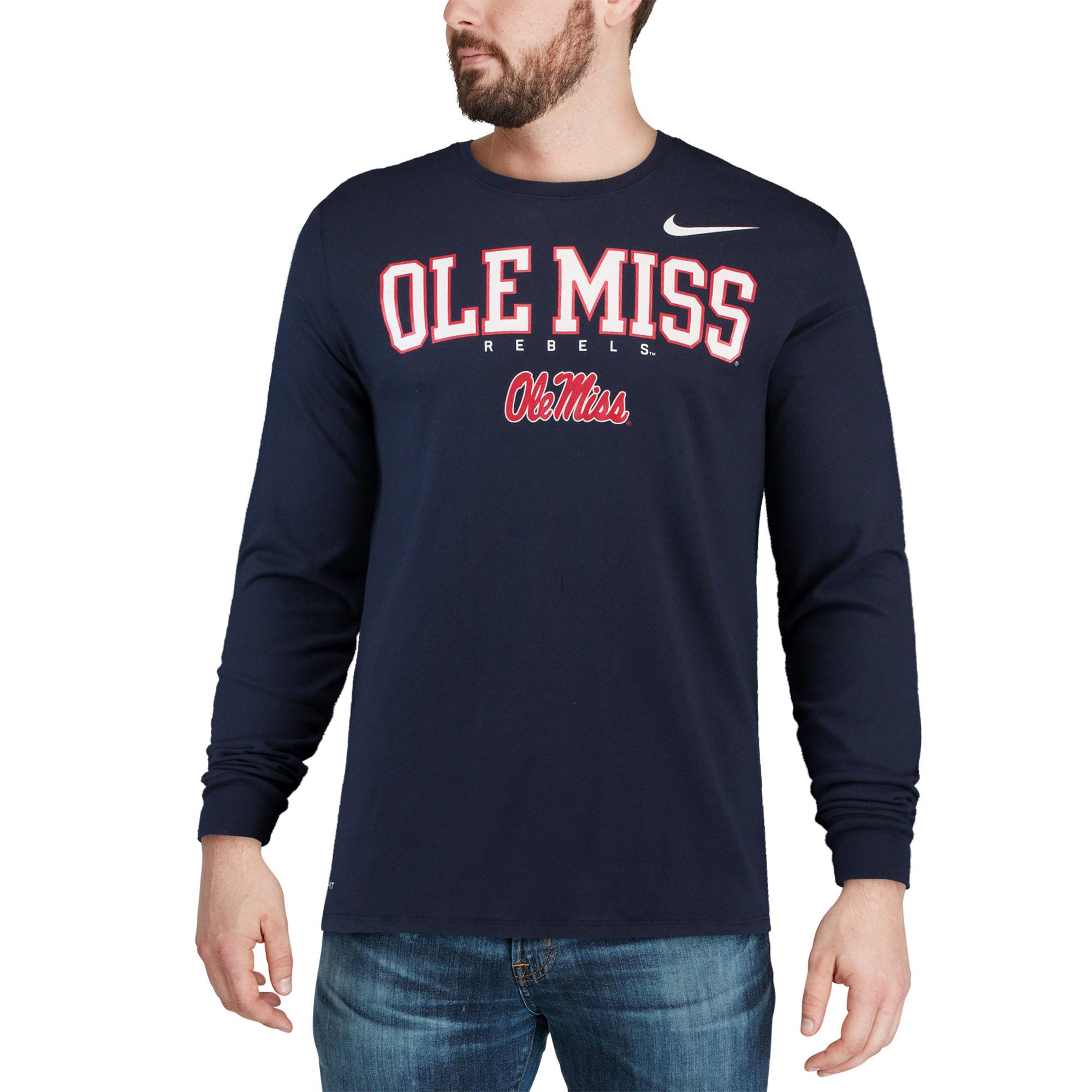 cf0b62456 Ole Miss Rebels Nike 2018 Facility Dri-FIT Cotton Long Sleeve T-Shirt -  Navy - Walmart.com